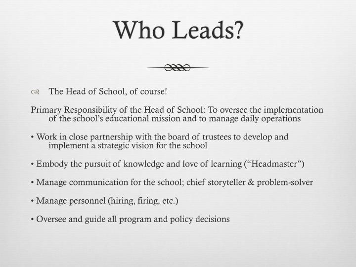 Who Leads?