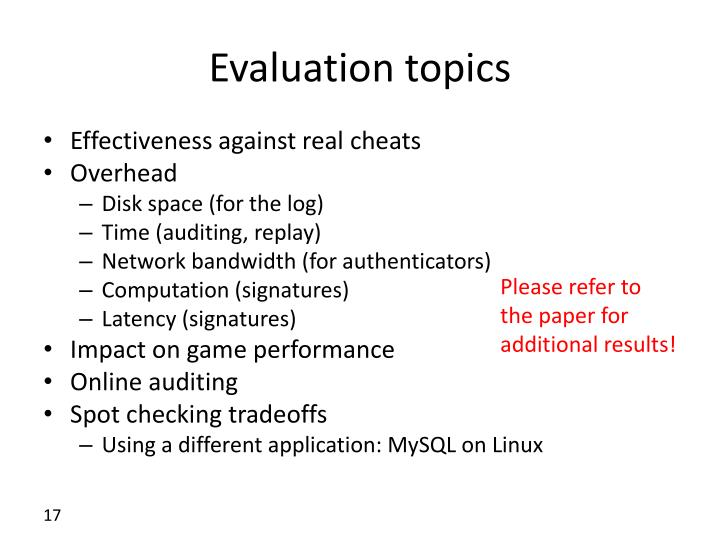 Evaluation topics
