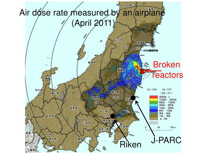 Air dose rate measured by an airplane