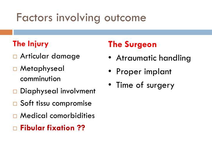 Factors involving outcome