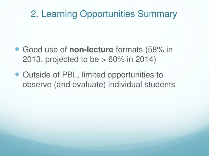 2. Learning Opportunities Summary