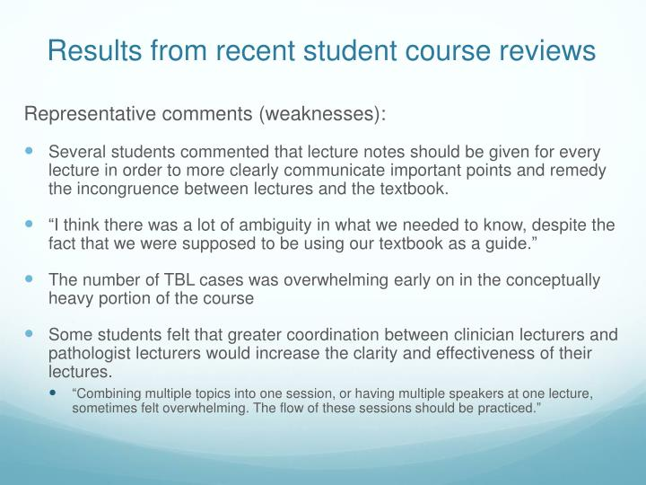 Results from recent student course reviews