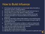 how to build influence