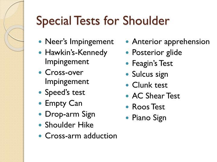 Special Tests for Shoulder