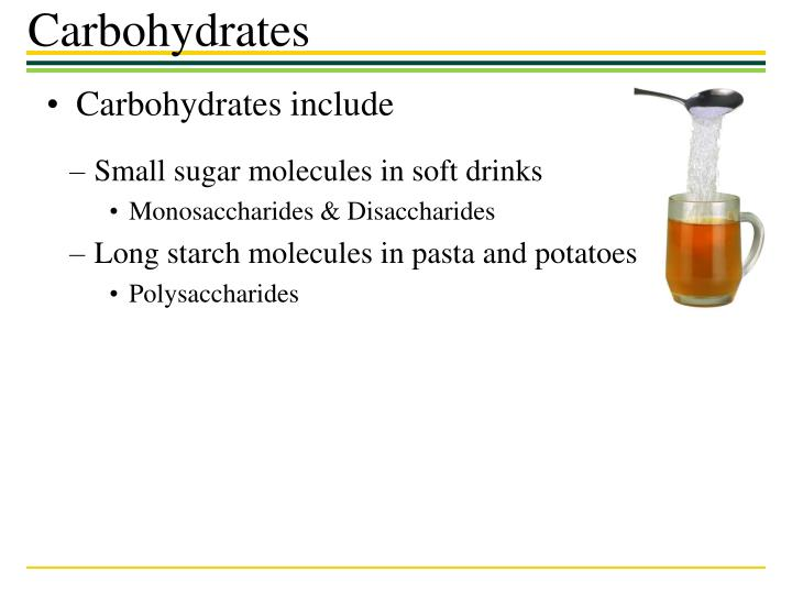 Carbohydrates include