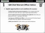 qm chief warrant officer advice