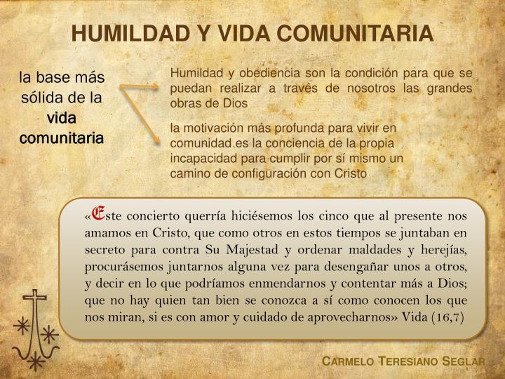 HUMILDAD Y VIDA COMUNITARIA