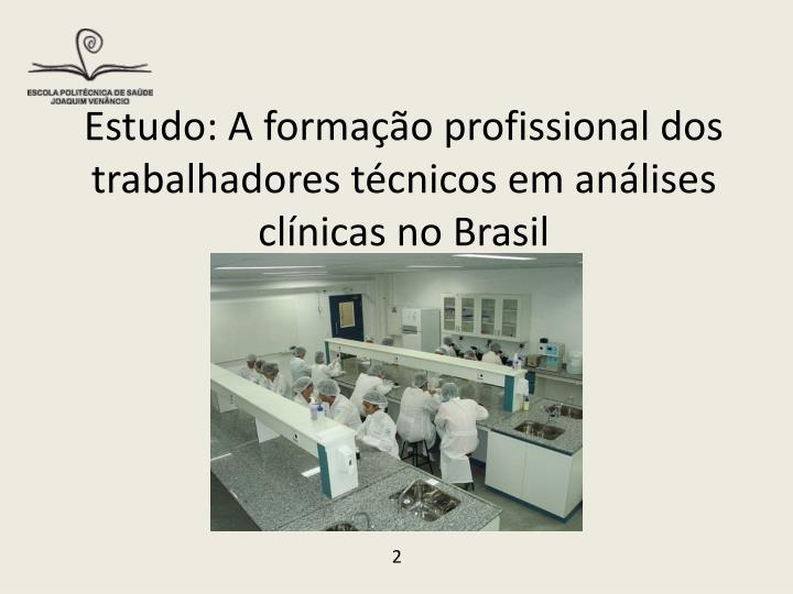 Estudo a forma o profissional dos trabalhadores t cnicos em an lises cl nicas no brasil