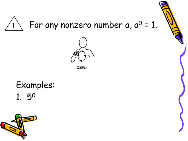 For any nonzero number a, a
