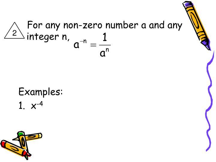 For any non-zero number a and any integer n,