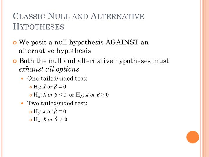 Classic Null and Alternative Hypotheses