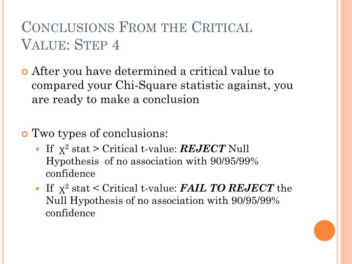 Conclusions From the Critical Value: Step 4