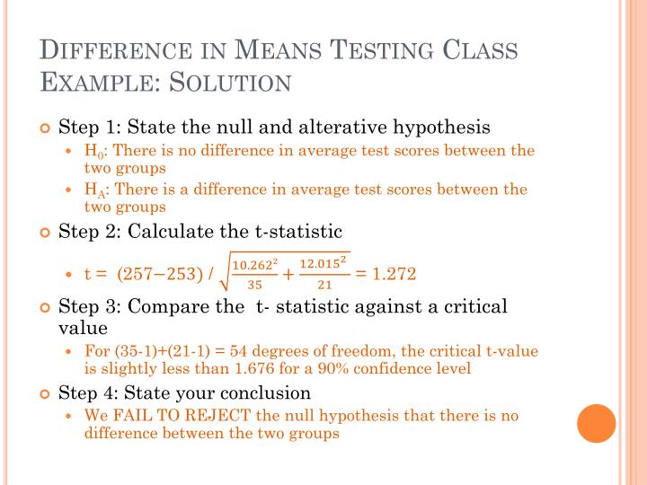 Difference in Means Testing