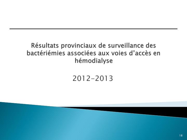 Résultats provinciaux de surveillance des bactériémies associées aux voies d'accès en hémodialyse