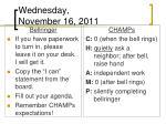 wednesday november 16 2011