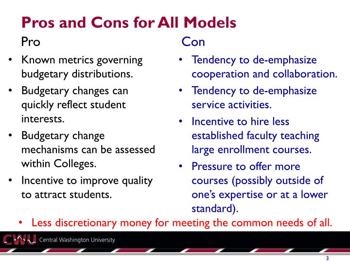 Pros and cons for all models