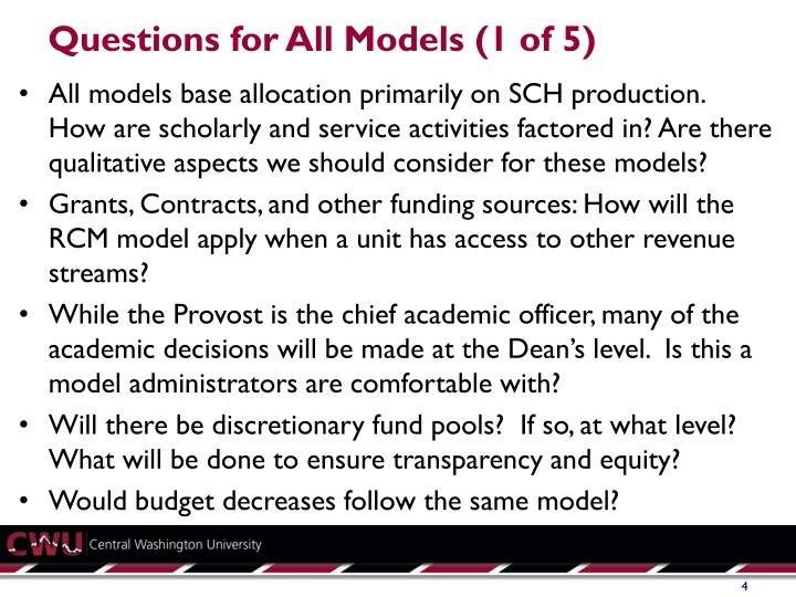 Questions for All Models (1 of 5)