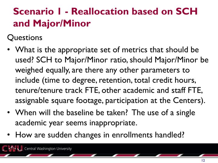 Scenario 1 - Reallocation based on SCH and Major/Minor