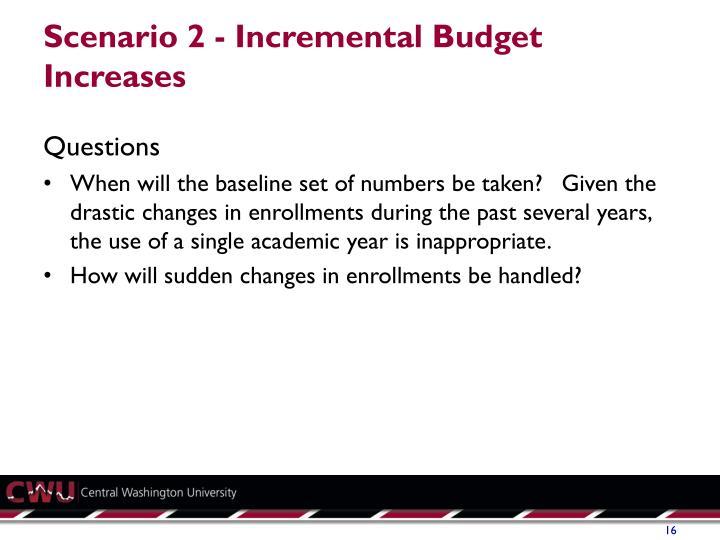 Scenario 2 - Incremental Budget Increases