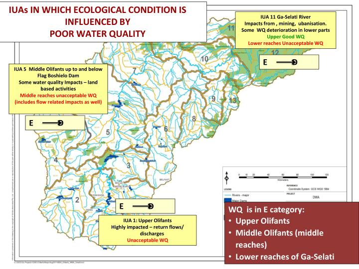 IUAs IN WHICH ECOLOGICAL CONDITION IS INFLUENCED BY
