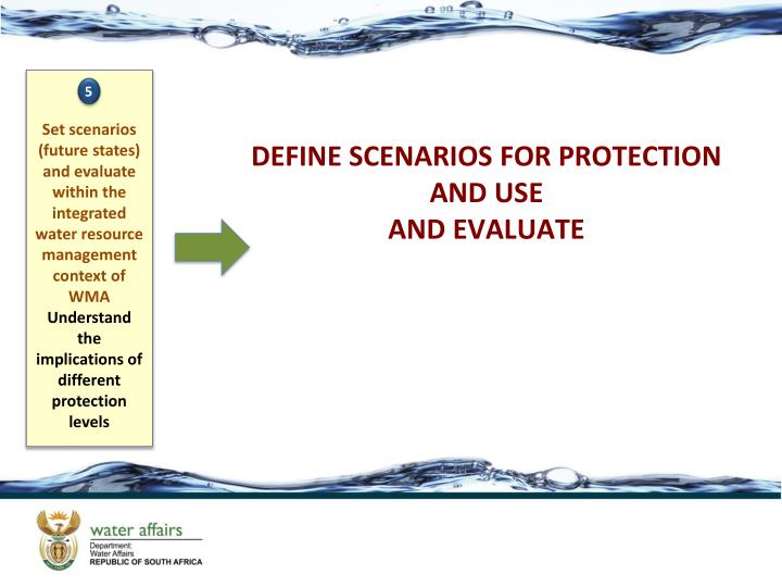 Set scenarios  (future states) and evaluate within the integrated water resource management context of WMA