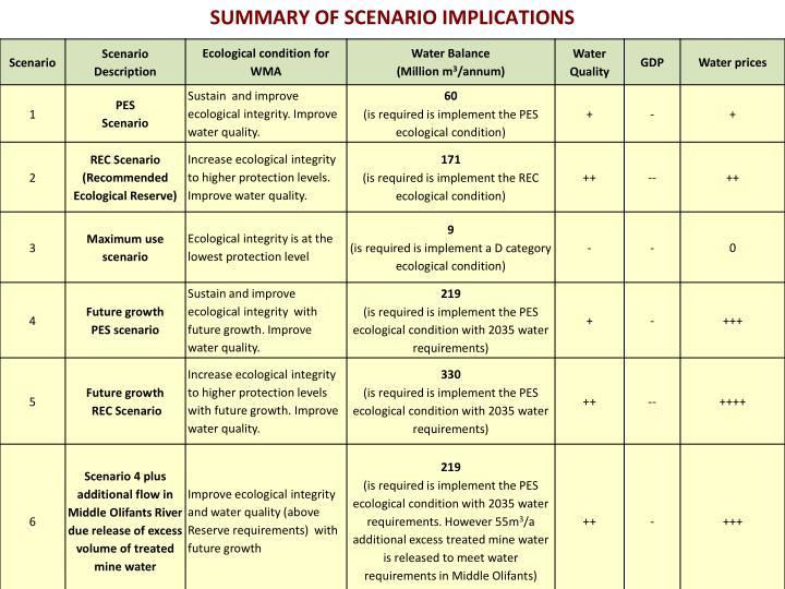 SUMMARY OF SCENARIO IMPLICATIONS