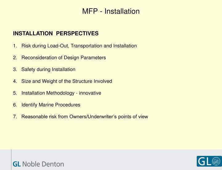 MFP - Installation