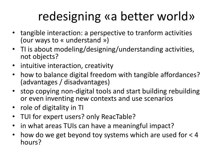 redesigning «a better world»