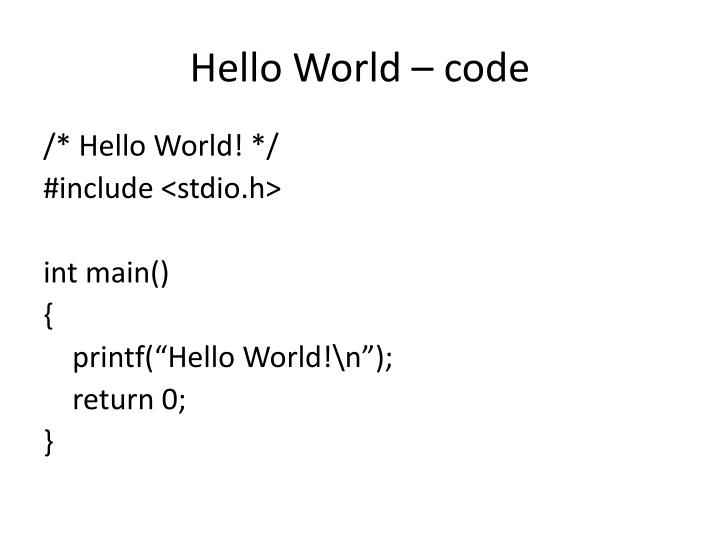 Hello World – code