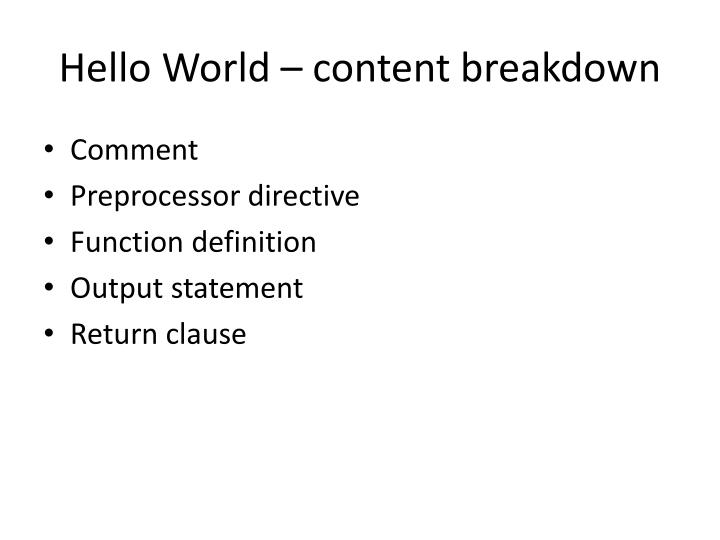 Hello World – content breakdown