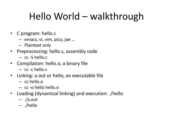 Hello World – walkthrough
