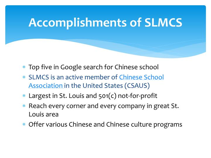 Accomplishments of slmcs