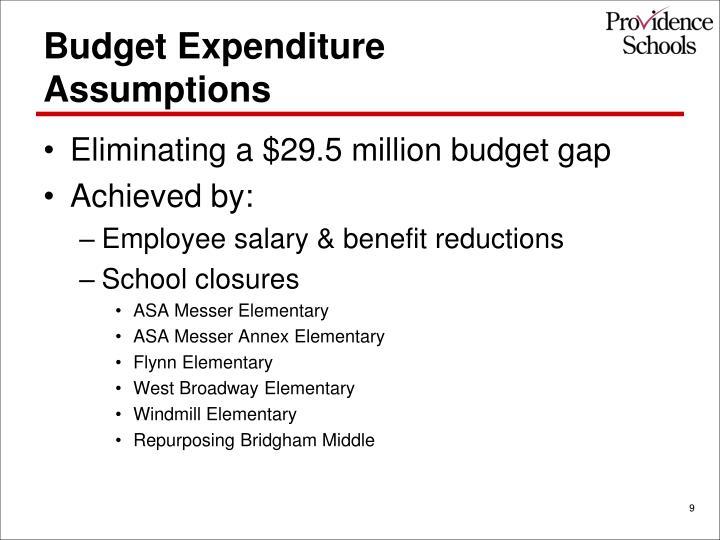 Budget Expenditure Assumptions