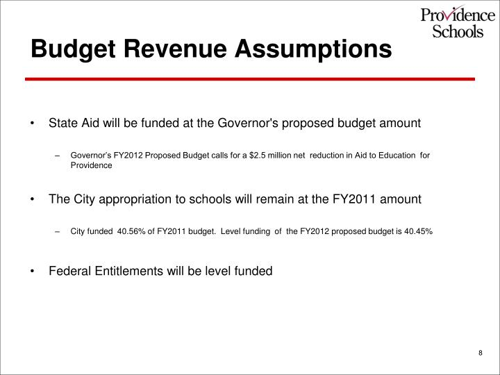 Budget Revenue Assumptions