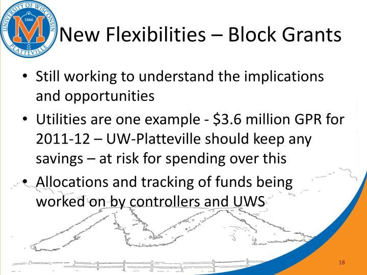 New Flexibilities – Block Grants