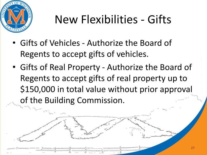 New Flexibilities - Gifts