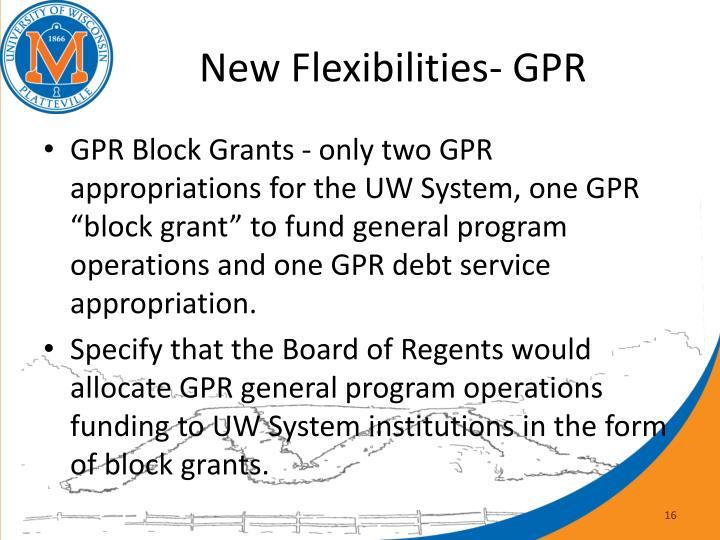 New Flexibilities- GPR