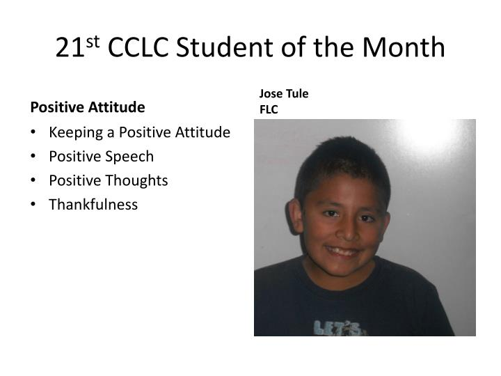 21 st cclc student of the month n.
