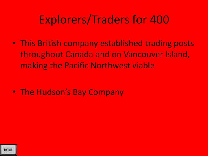 Explorers/Traders for 400