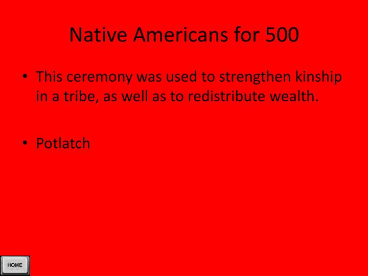 Native Americans for 500