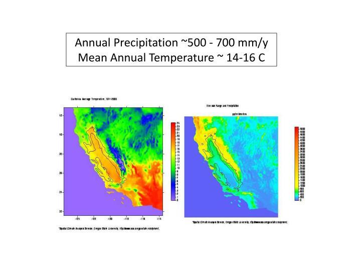 Annual Precipitation ~500 - 700 mm/y