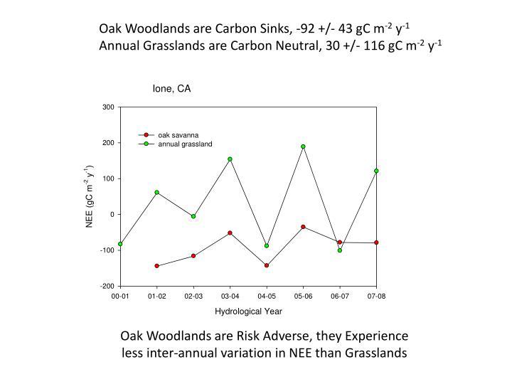 Oak Woodlands are Carbon Sinks, -92 +/- 43