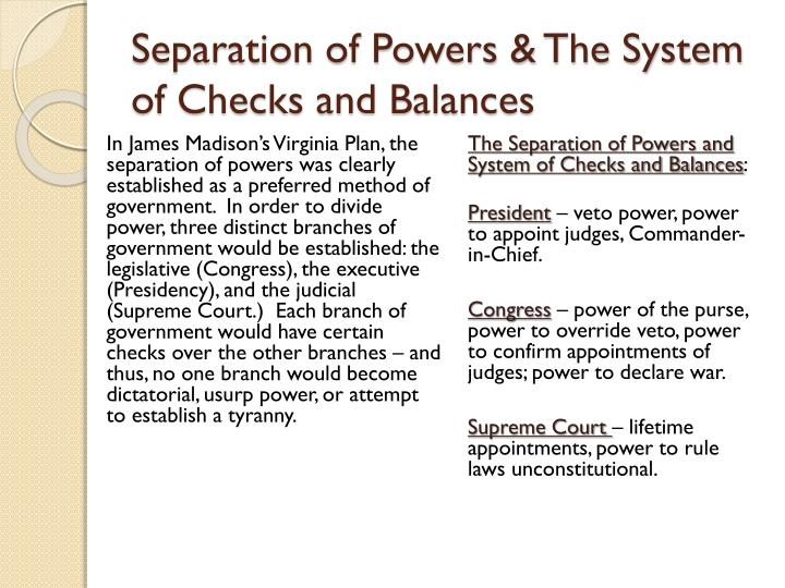 Separation of Powers & The System of Checks and Balances