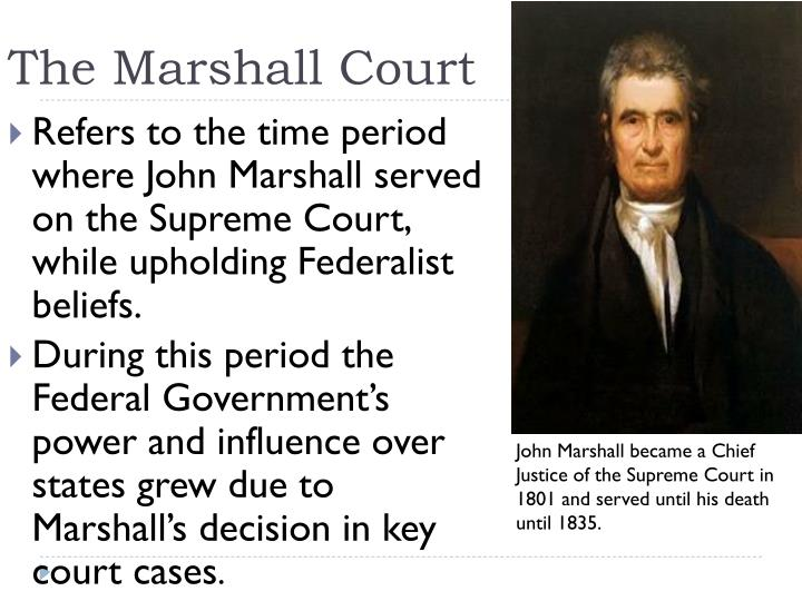 john marshall and the supreme court essay John marshall was the fourth chief justice of the united states, he was known as great chief justice he established the modern status of the supreme court he served in.