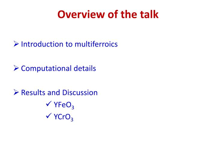 Overview of the talk