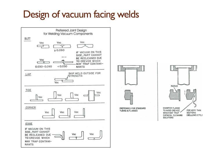 Design of vacuum facing welds
