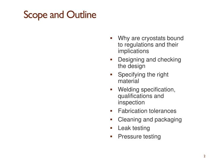 Scope and outline