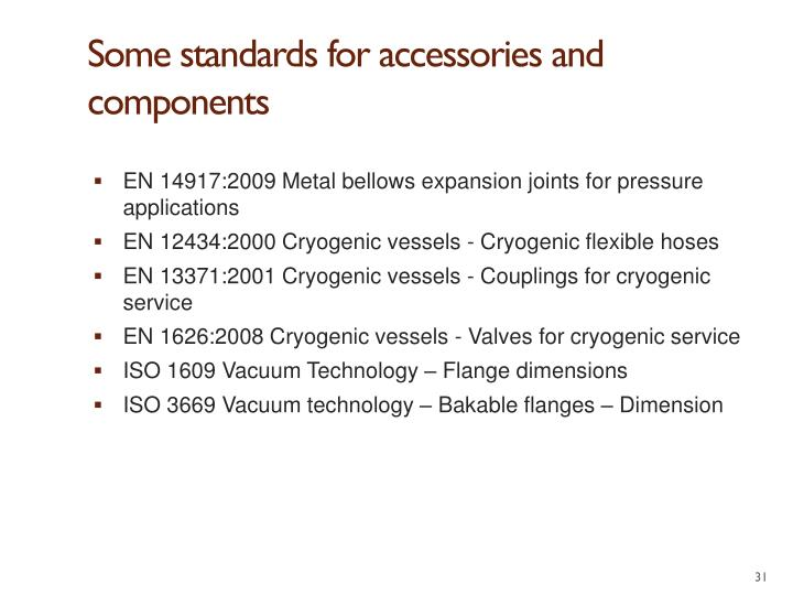 Some standards for accessories and components