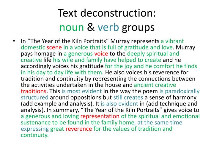 deconstruction of a text Because deconstruction is an attack on the very existence of theories and conceptual systems, its exposition by derrida and others purposely resists logical definitions and explanations, opting instead for alinear presentations based on.