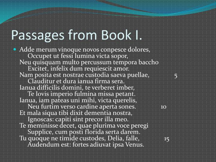 Passages from Book I.